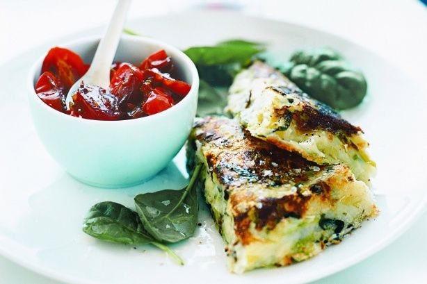 Traditional bubble and squeak is given a fancy twist when served as individual patties with a tasty tomato relish.
