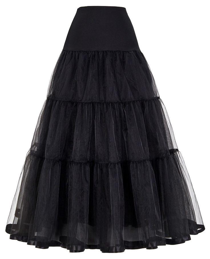 Retro Vintage Petticoats For Wedding Dress Black White Slips Tulle Underskirt Crinoline Petticoat Women Long Skirt CL010421