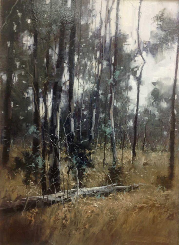 Grey Bush Oil, 100x75 - Herman Pekel