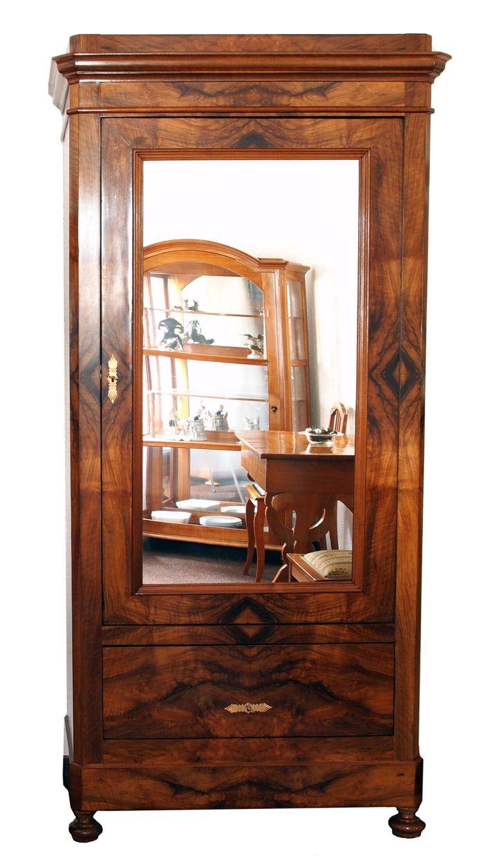 Garderobenschrank Nussbaum Historismus Antiquitäten