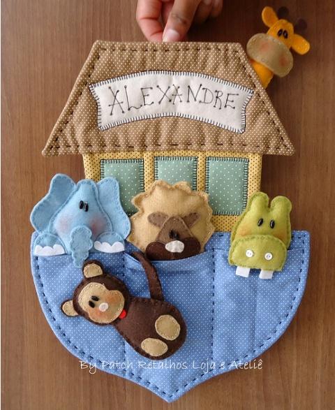enfeite_porta_maternidade...  cute felt Noah's Ark