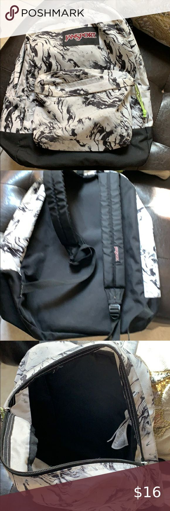 Jansport backpack black and white marble design in 2020