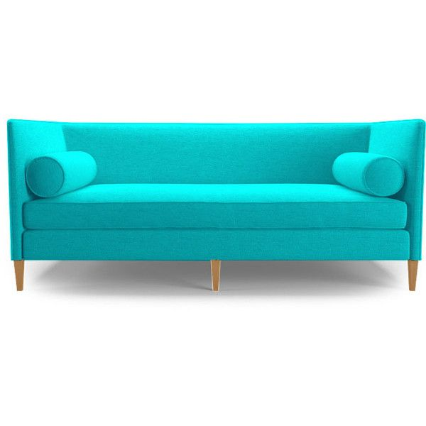 lennon loveseat liked on polyvore featuring home furniture sofas blue