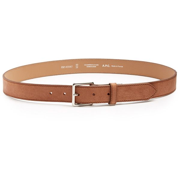 A.P.C. Paris brushed-leather belt ($79) ❤ liked on Polyvore featuring men's fashion, men's accessories, men's belts, mens tan belt, mens leather belts, mens real leather belts, mens genuine leather belts and mens leather accessories