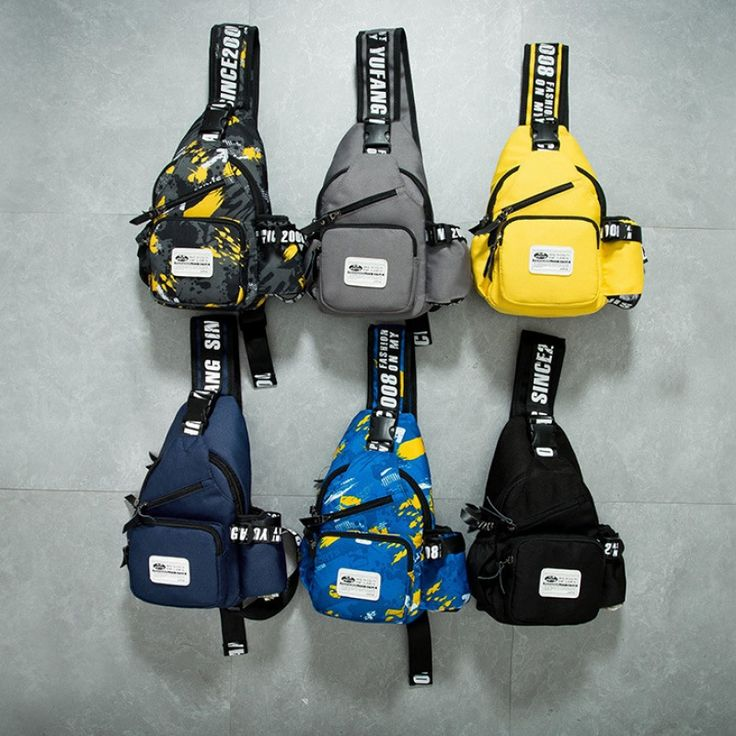 Men Multifunctional Shoulder Bag Crossbody Chest Pack - Printed Blue  #men #women  #bags #fashion