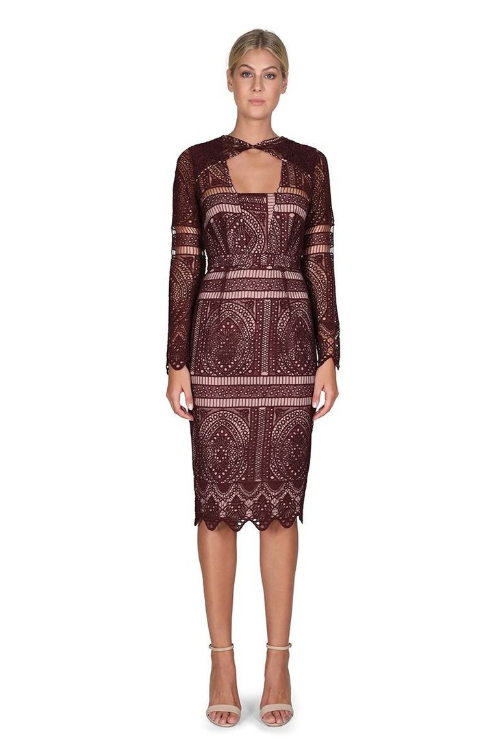 Cooper St - The Last Hurrah Long Sleeved Dress In Berry
