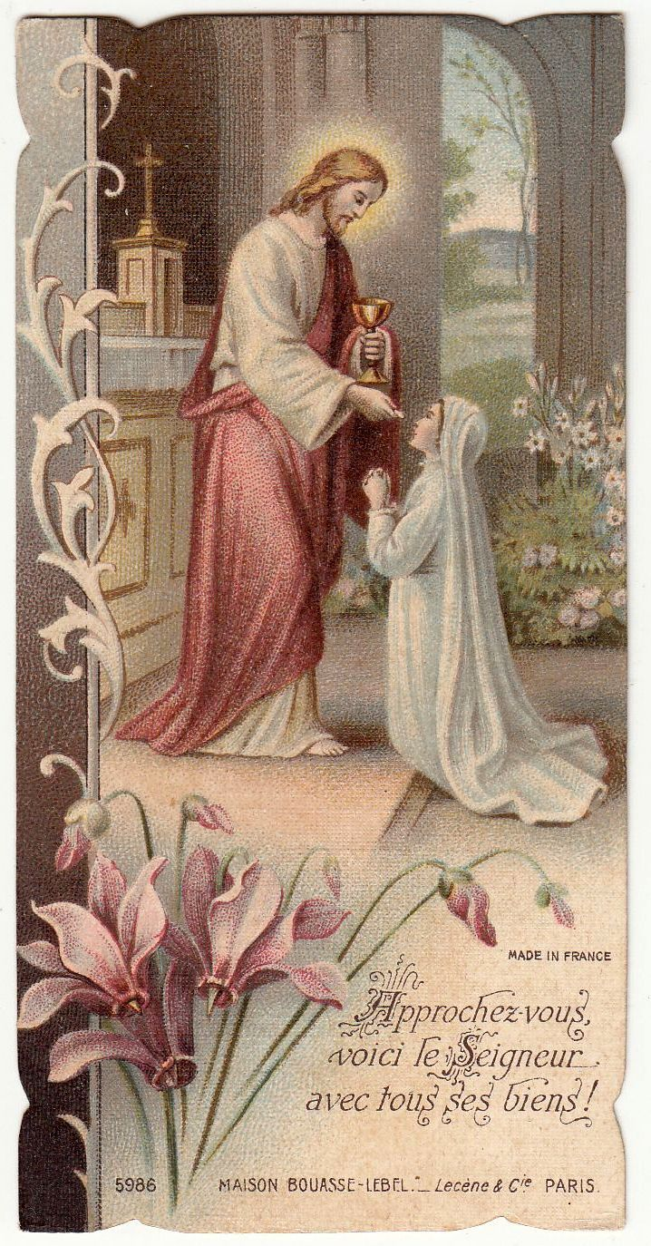 Antique French Holy prayer card gold print First communion souvenir. Circa 1933. Printed by Bouasse Paris Size : 6 x 11.5 cm LINK to convert in inches You received exactly the old card of this photo! About Holy cards All our holy cards are antique or vintage. They are stamped usually on paper or hand made painted Every card is like a miniature picture, see all details!