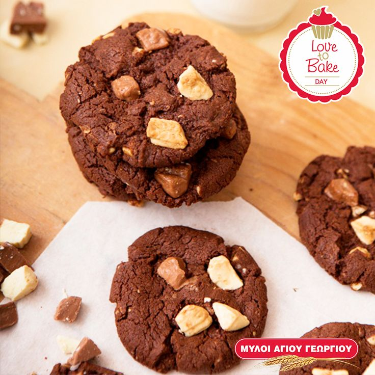 Cookies με τριπλή σοκολάτα