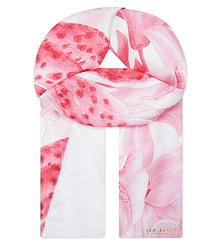 TED BAKER - Pearly petal split print mulberry silk scarf | Selfridges.com