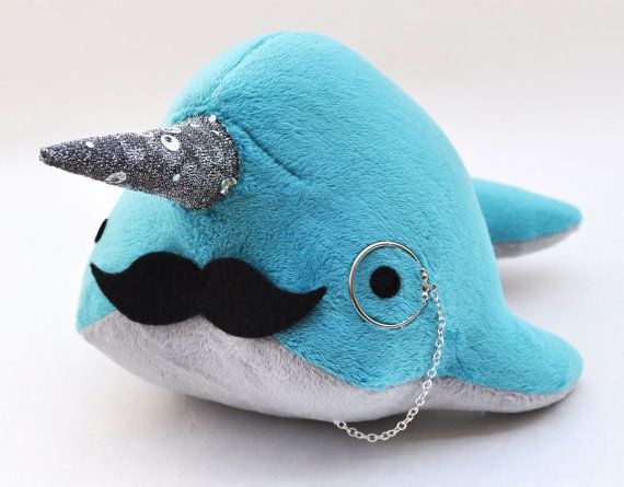Narwhal Plush  with Mustache and Monocle  Medium  by OstrichFarm, $34.00... Oh my gosh, I know so many people who would love this!