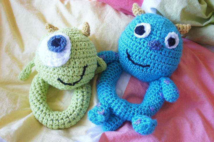 Monsters Inc. Mike and Sully baby rattles crochet