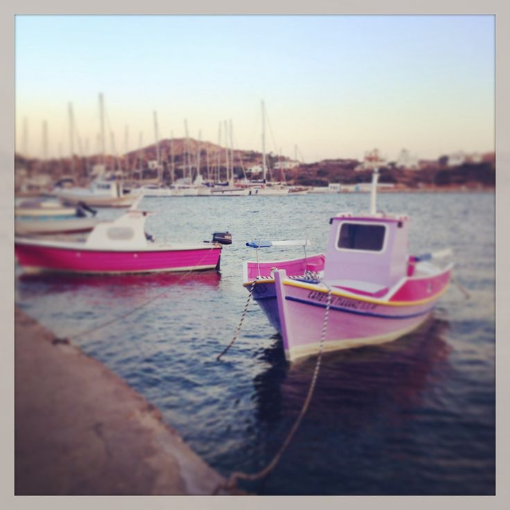 Pink boats in Lipsi, Greece
