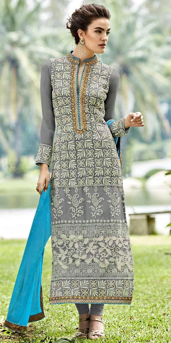 Vibrant Grey Georgette Designer Straight Salwar Suit With Dupatta.