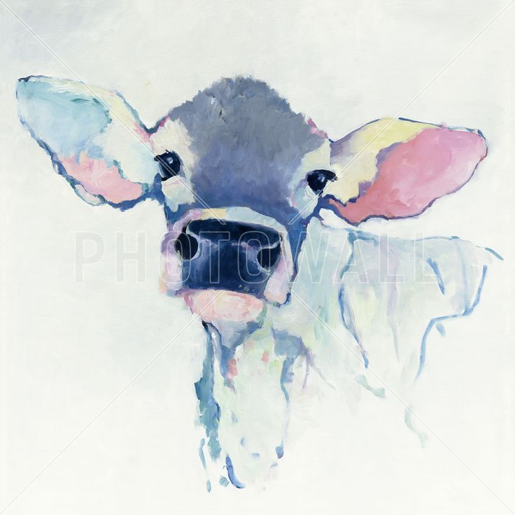 Watercolor Cow - Fototapeter & Tapeter - Photowall
