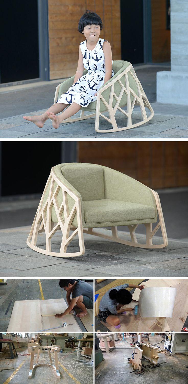 Silla en madera curva