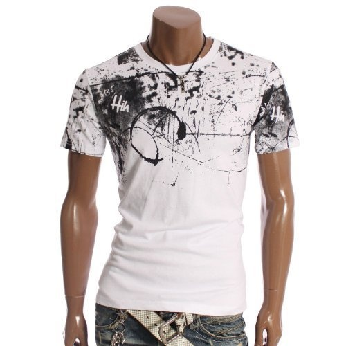 Doublju Mens Scribble Crew neck T-shirts Tee(CF12)