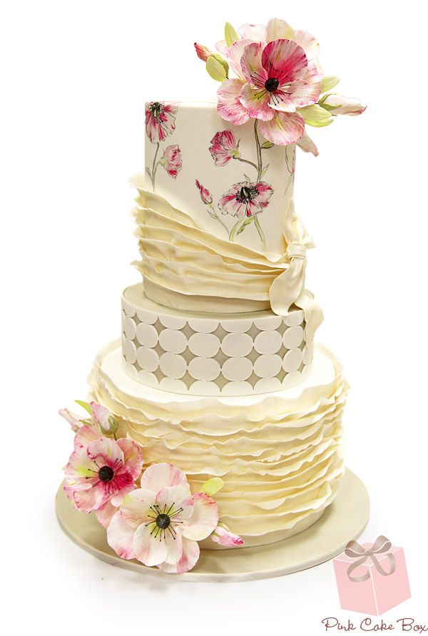 Hand Painted Spring Flower Wedding Cake we