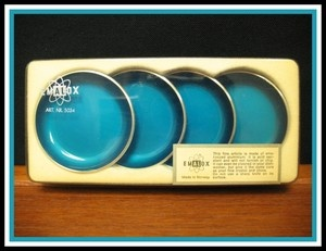Vintage Emalox Anodized Aluminum Butter Pats, in turquoise aluminum. With their original box. Made in Norway...