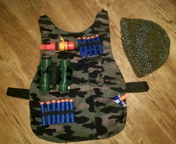 Nerf vest and crochet camo beanie. For 8 year boy.