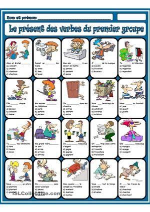 Le présent des verbes du premier groupe fiche d'exercices - Fiches pédagogiques gratuites FLE
