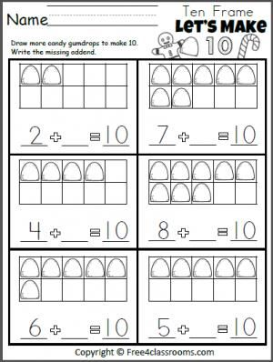 Free Let's Make 10 Gumdrop Addition worksheet for Christmas and winter holiday math.  Aligned to Kindergarten Common Core Standards.