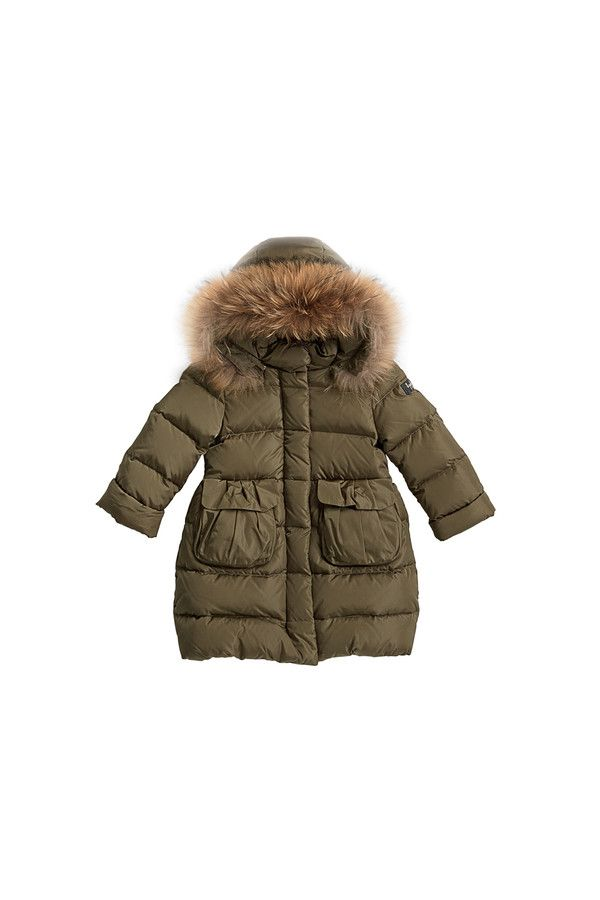 Down-filled coat with patch pockets and fur-trimmed hood. #ilgufo #fw13 #shopping #downjacket #fashionkids #childrenswear #fashion #musthave #girls