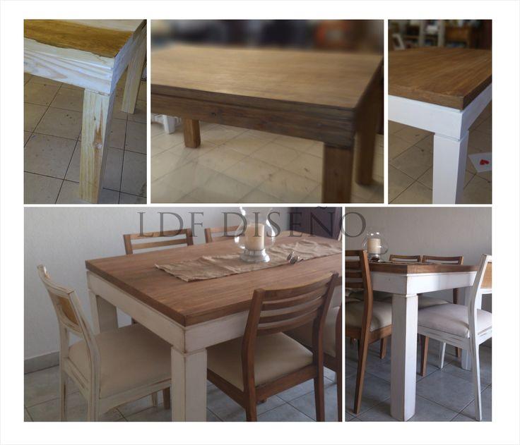 mesa de comedor . pátina y decapado en mesa y sillas
