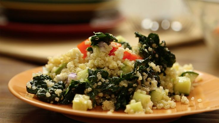 Kale, quinoa, red capsicum, cucumber, red onion, feta cheese and avocado are served with a homemade Dijon mustard and lemon vinaigrette in this brilliant salad. Steaming the kale removes some of the bitterness and the salad dressing ties all the flavours together beautifully.