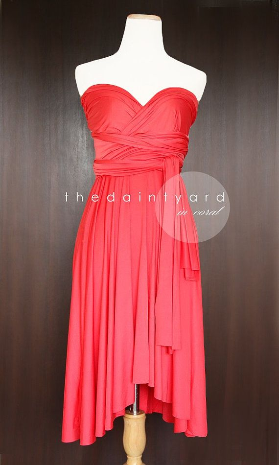 Coral Bridesmaid Convertible Dress Infinity Dress Multiway Dress Wrap Dress Wedding Dress Orange on Etsy, $34.00  @Meghan Clifton @Meghan Clifton I'm not sure which account of yours is active LOL but I contacted the seller of this dress to see what our options would be if we wanted to do something like this.  I like that it can be styled different for each girl and there is also an optional maxi length for Jessica!!