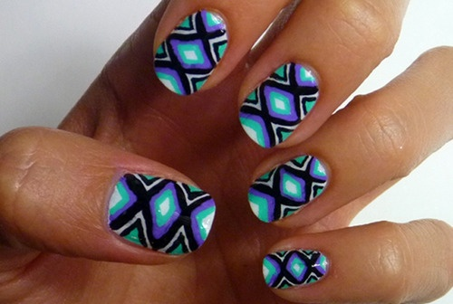 Its time to DIY! Brighten up your summer look with this electric, tribal-inspired nail art. Learn the simple and chic steps here