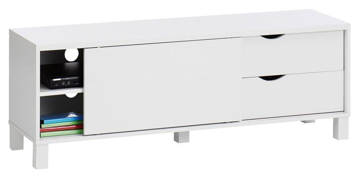 TV-bord YALE 1 låge 2 skuffer hvid | JYSK