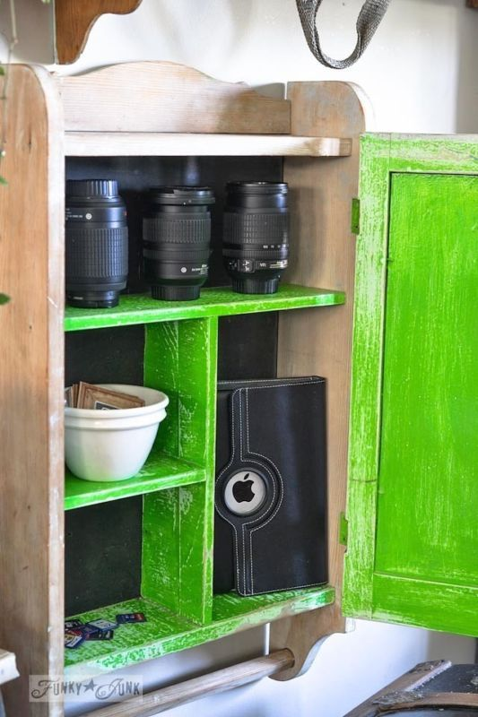 Vintage cupboard to store camera gear / Storage with cool junk... to hide your other junk! All kinds of fixes out of upcycled finds that hide the junk you don't want others to see. By Funky Junk Interiors for Ebay