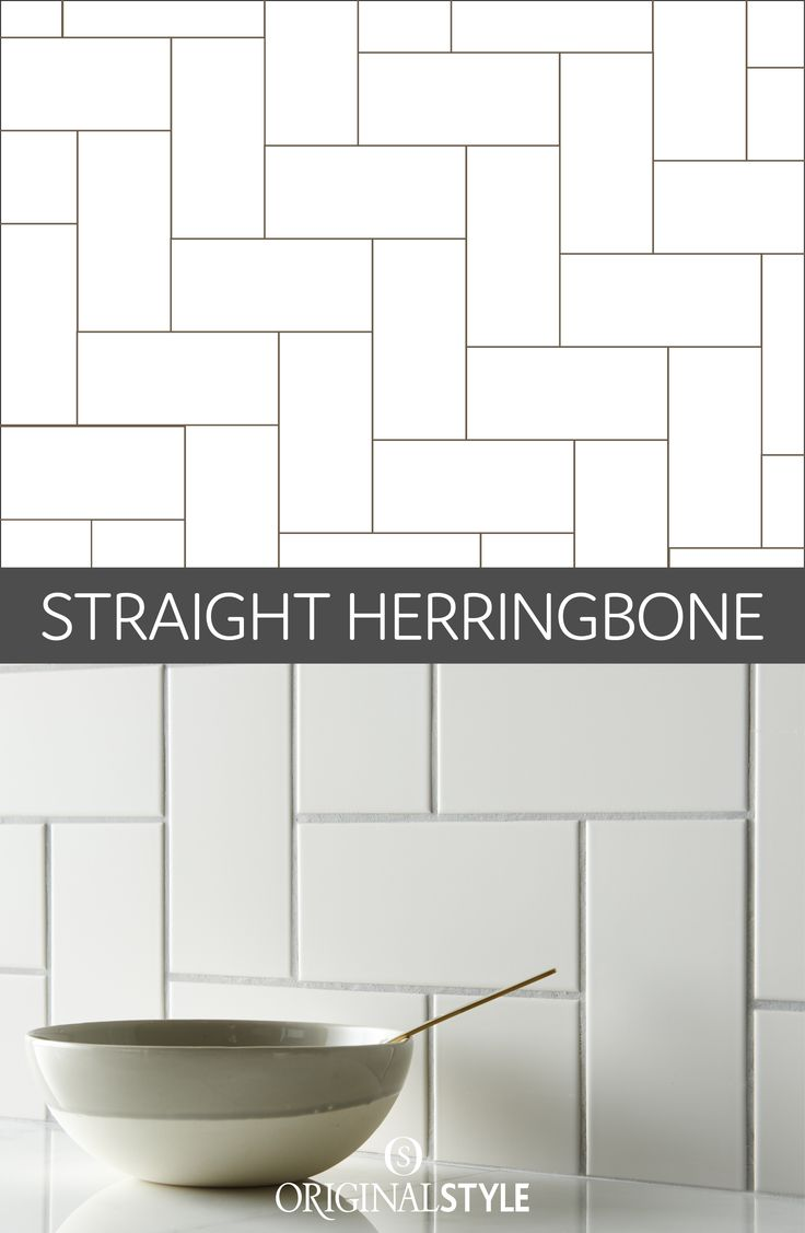 This take on the herringbone pattern has a more contemporary vibe with the tiles laid at a 90 degree angle instead of 45 creating a sharper edge. Designers use the herringbone pattern to enhance the size of a smaller room, but laying tiles in this way also adds a visual impact, even if only used as a small splashback.