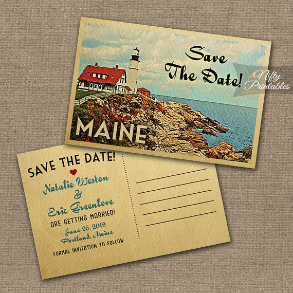 Maine Save The Date Postcards - Printable Maine Wedding Postcard - Retro Lighthouse Save The Date Cards VTW