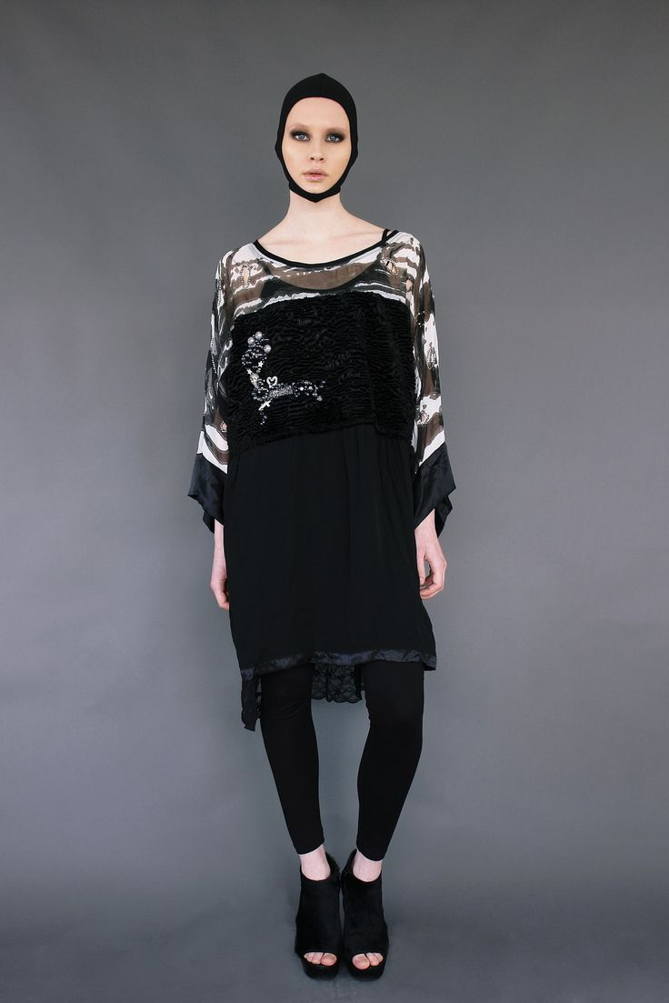 Faux Fur handpainted dress with silk and lace www.maurizio.gr
