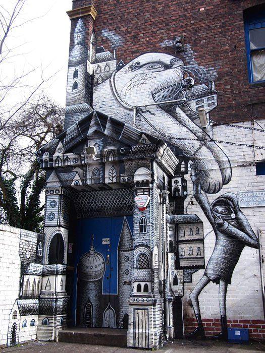 Best Phlegm Images On Pinterest Graffiti Street Art And - Awesome mechanical shark mural phlegm