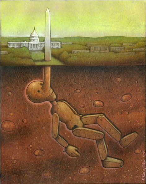 """미국 백악관 앞에 있는 평화의 탑을 거짓말을 할 때마다 늘어나는 피아키노의 코에 비유했다. 미국이 세계에게 말하는 """"평화""""가 실상은 전쟁과 폭력으로 얼룩져있음을 주장한다."""