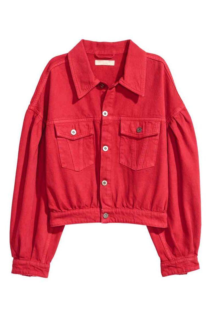 Veste jean rouge femme
