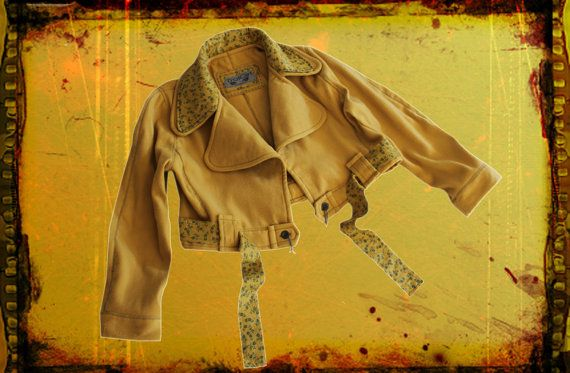 Womans Crop Jacket Yellow Golden Layered Collar Ditzy Print OOAK By TratGirl Trends 2013
