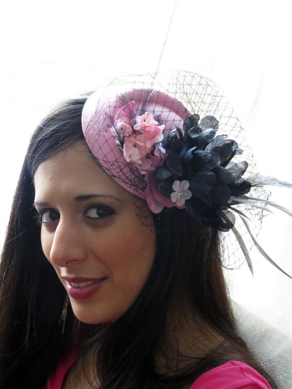 Pale pink fascinator with black veil wedding by FascinatorsFirst, $44.00