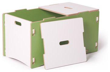 Toy Box, Green/White - contemporary - Toy Organizers - Sprout, Quark Enterprises