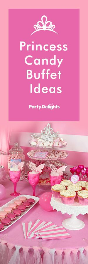 Find out how to create a gorgeous princess candy buffet using our sweet jars, candy buffet supplies and princess themed decorations, and learn how to set up a candy buffet table like a professional. A cute idea for a princess party or baby shower.