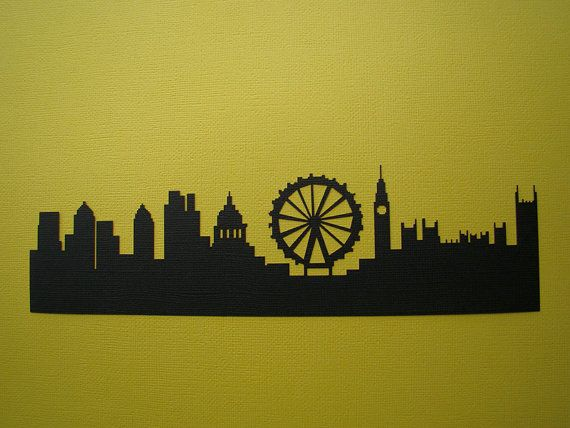 London Skyline Silhouette @ashleylester this is what we need to do just way bigger around our room!!