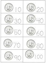 Presidents Day activities: Skip count by 10's with dimes.  FREE trace & write coin cards.