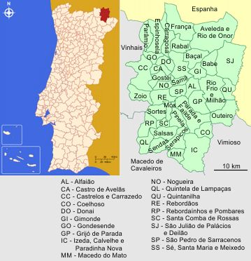 Concelhos Limítrofes do Distrito de Bragança e Concelho de Bragança