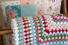 Beautiful crochet blanket. Love the colours.