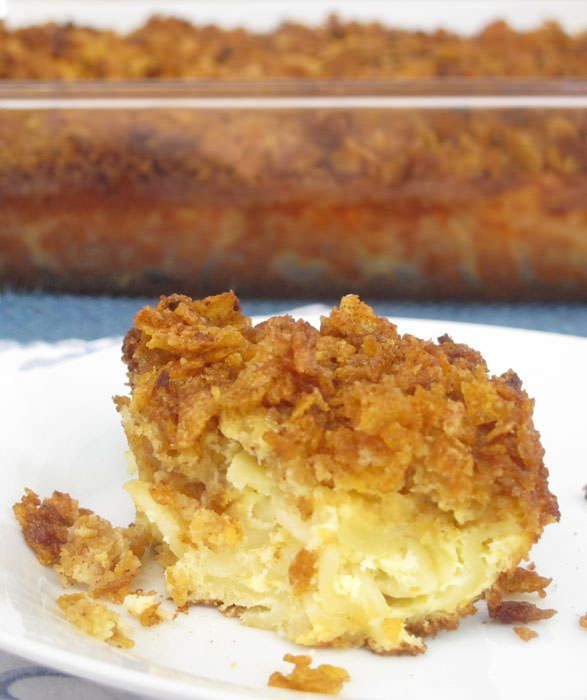 This sweet kugel with corn flakes is perfect for Rosh Hashanah (Jewish New Year) or any meal with a simple meat, poultry or vegetable main course.