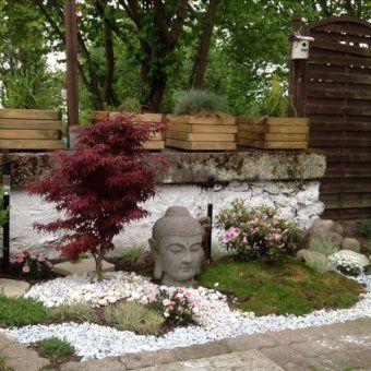 un jardin japonais avec un rable japonais et des galets blancs sur lesquels est pos une tte