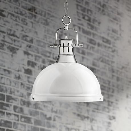 Duncan Chrome 14 Wide Contemporary White Pendant Light