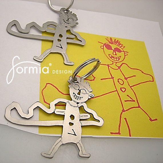 This item requires a price quote before ordering. Handmade, durable titanium keychain is exact replica of your childs artwork. Send image of the drawing via Etsy or email and we will quote you a price depending on the details of your drawing (range is $89-$149). Personalized Christmas gift! As exciting to give as it is to receive... A unique and useful gift for Mom or Dad! -We are taking Fathers Day orders through June 13!  E-mail us: formia@live.com  More info visit: www.formiadesign.com…